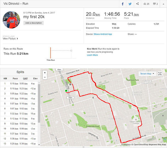 20k running in Forest Hill, Toronto