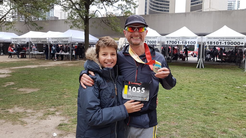 Scotiabank Toronto Waterfront Marathon 2018 - me and my son Robert