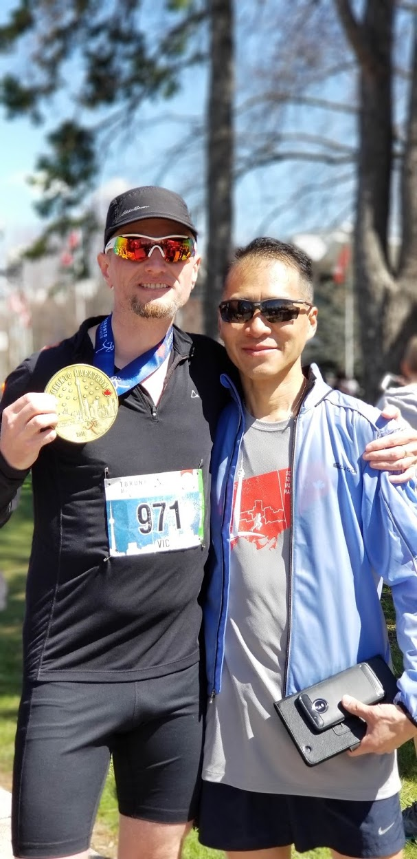 Toronto Marathon 2019 - me with David Lung, a very good runner from Rockies Road Runners group